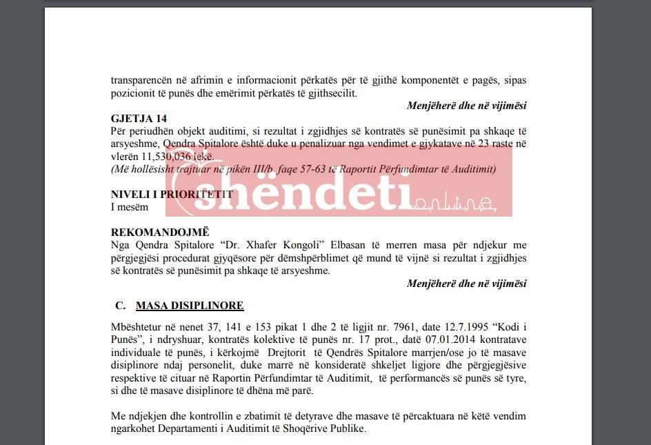 Qendra Spitalore Elbasan, penalizohet nga gjykata për 23 raste të zgjidhjes së kontratës së punës